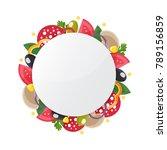 pizza ingredient circle banner. ...   Shutterstock .eps vector #789156859
