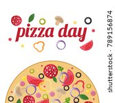 pizza day concept.   Shutterstock .eps vector #789156874