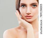 perfect female face closeup.... | Shutterstock . vector #789158005