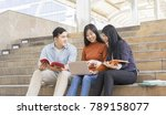 group of young college students ... | Shutterstock . vector #789158077