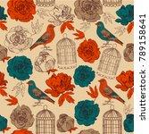 bird and flowers  pattern... | Shutterstock .eps vector #789158641
