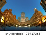 Cabot Square is one of the central squares of the Canary Wharf. - stock photo