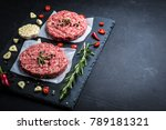 raw cutlet of minced meat with... | Shutterstock . vector #789181321
