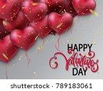 bunch of glossy heart balloons. ... | Shutterstock .eps vector #789183061