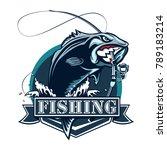 perch fish and fishing rod logo.... | Shutterstock . vector #789183214