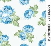 shabby chic blue rose seamless... | Shutterstock .eps vector #789183301