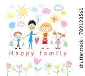 cartoon baby drawing happy... | Shutterstock .eps vector #789193561