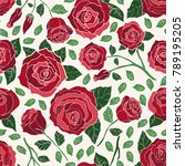 hand drawn vector roses in... | Shutterstock .eps vector #789195205