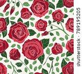 hand drawn vector roses in... | Shutterstock .eps vector #789195205