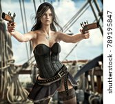 fantasy pirate female drawing...   Shutterstock . vector #789195847