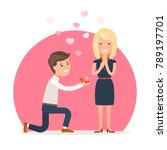 man makes marriage proposal to... | Shutterstock .eps vector #789197701