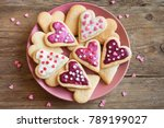 Glazed heart shaped cookies for Valentine