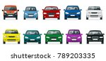 car front view set. vehicles... | Shutterstock .eps vector #789203335