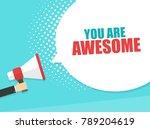 male hand holding megaphone... | Shutterstock .eps vector #789204619