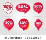 set of red sale stickers fifty | Shutterstock .eps vector #789210514