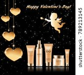 gift set of cosmetics for st.... | Shutterstock .eps vector #789213145