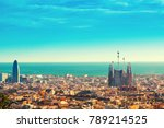 view above on barcelona... | Shutterstock . vector #789214525