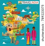 travel places in india. vector... | Shutterstock .eps vector #789223375