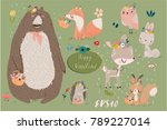 set with cute animals | Shutterstock .eps vector #789227014