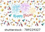 happy purim greeting card with...   Shutterstock .eps vector #789229327