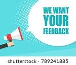 male hand holding megaphone... | Shutterstock .eps vector #789241885