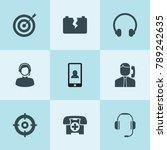 set of 9 center filled icons... | Shutterstock .eps vector #789242635