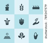 set of 9 seed filled icons such ...   Shutterstock .eps vector #789247579