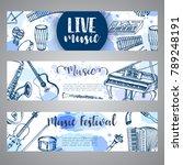 music festival brochure flyer... | Shutterstock .eps vector #789248191