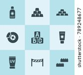 set of 9 block filled icons... | Shutterstock .eps vector #789248677