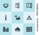set of 9 estate filled icons... | Shutterstock .eps vector #789248845