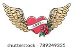 hand drawn tattoo heart with... | Shutterstock .eps vector #789249325