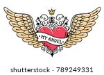 tattoo flying heart with crown... | Shutterstock .eps vector #789249331