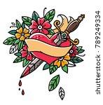 heart pierced with dagger.... | Shutterstock .eps vector #789249334