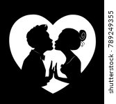 silhouettes of loving couple on ...