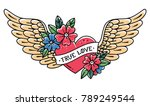 hand drawn tattoo flying heart... | Shutterstock .eps vector #789249544