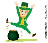 young st patrick man jumping... | Shutterstock .eps vector #789250291