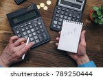 tax inspector or banker desk... | Shutterstock . vector #789250444