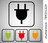 plug electric set icons | Shutterstock .eps vector #789251329