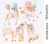 collection  set of beautiful... | Shutterstock .eps vector #789263551
