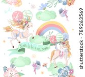 cute unicorns seamless pattern. ... | Shutterstock .eps vector #789263569
