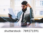 smart concentrated bearded... | Shutterstock . vector #789271591