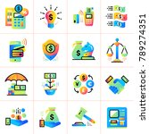 flat icons set of finance ... | Shutterstock .eps vector #789274351
