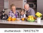 grandparents with grandchildren ... | Shutterstock . vector #789275179