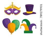 mardi gras carnival elements  | Shutterstock .eps vector #789279931