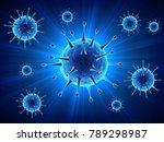 blue virus cells or bacteria...   Shutterstock .eps vector #789298987