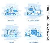modern flat color line concept... | Shutterstock .eps vector #789305881