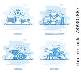 modern flat color line concept... | Shutterstock .eps vector #789305887