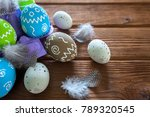 painted easter eggs with... | Shutterstock . vector #789320545