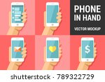 hand using vector mobile phone... | Shutterstock .eps vector #789322729