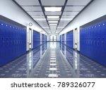 school corridor interior. 3d... | Shutterstock . vector #789326077